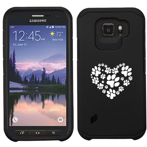 For Samsung Galaxy (S6 Active) Shockproof Impact Hard Soft Case Cover Heart Paw Prints (Black)