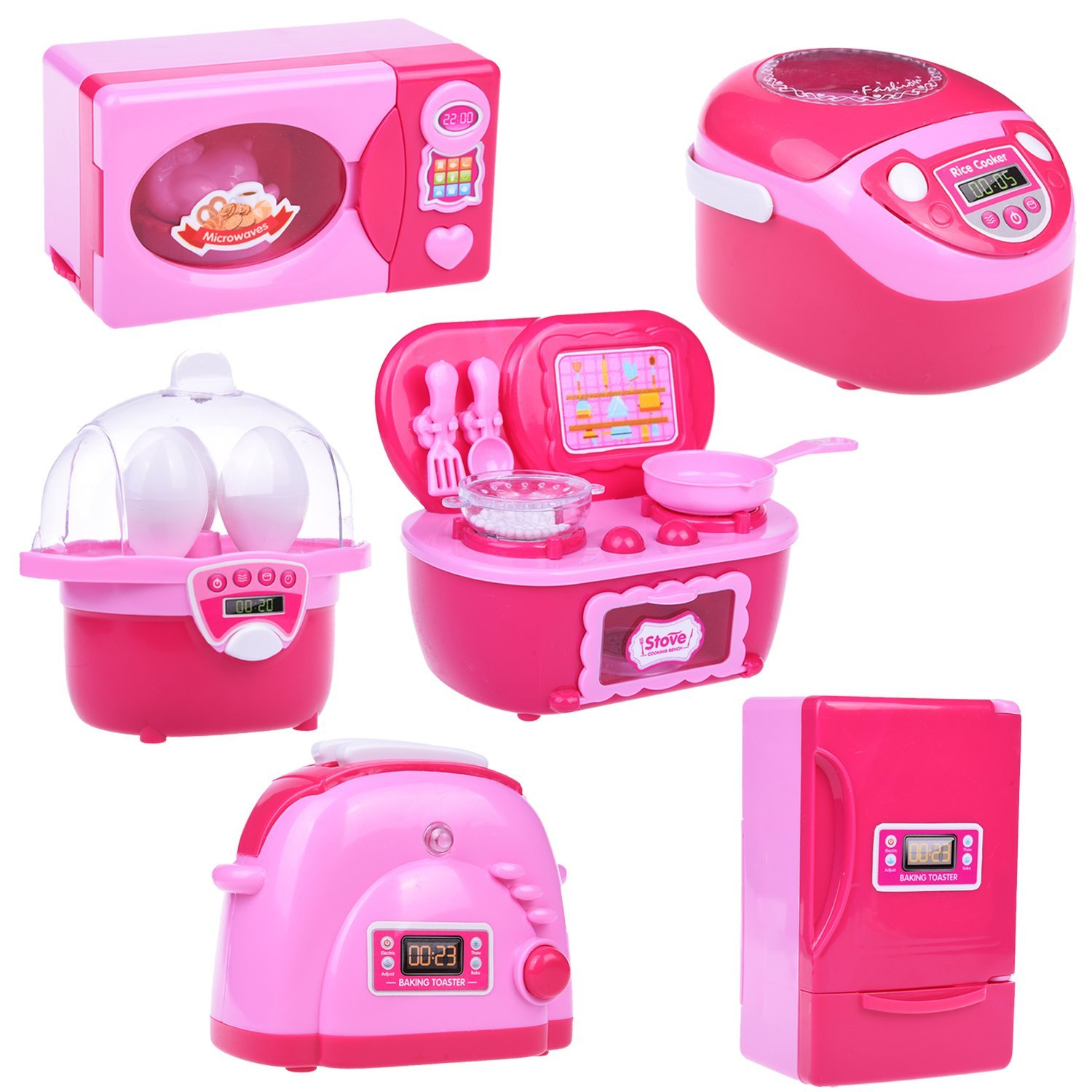 Mini Kitchen Play Set Home Appliances Refrigerator Stove Oven Microwave Toaster Steam Egg Timer Set with Batteries 6 PCs F-33