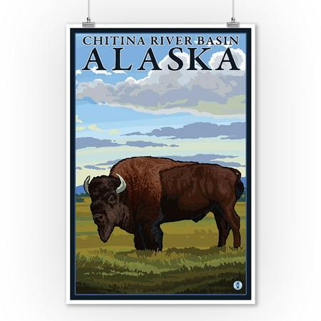 Bison Scene - Chitina River Basin, Alaska - LP Original Poster (9x12 Art Print, Wall Decor Travel Poster)