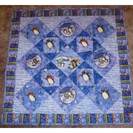 Lap Quilts Quilted Wall Hangings - Quilted Christmas Wall Hanging Winter Wonderland, Penguins Having Fun