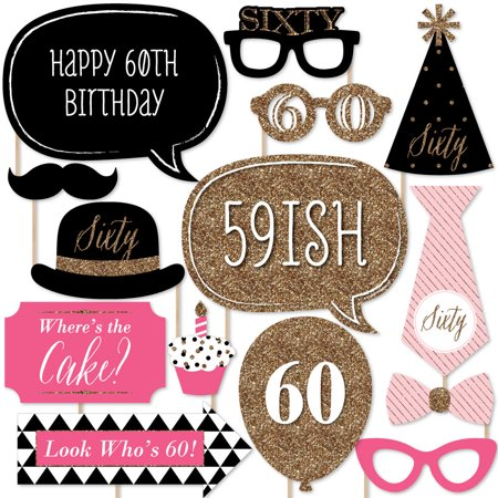 Chic 60th Birthday - Pink, Black and Gold - Photo Booth Props Kit - 20 Count - Black And Gold 60th Birthday Decorations