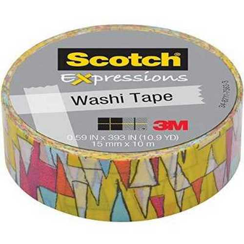 "3m C314P13 Expressions Washi Tape, .59"" X 393"", Colorful Triangles"