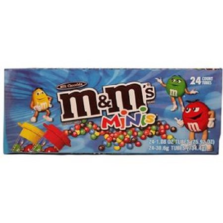 M&M'S Milk Chocolate MINIS Size Candy 1.08-Ounce Tube 24-Count - Pink Mini M&ms