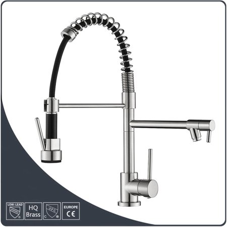 Kitchen Sink Faucet Double Water Outlet Hot Cold Mixer Tap ...