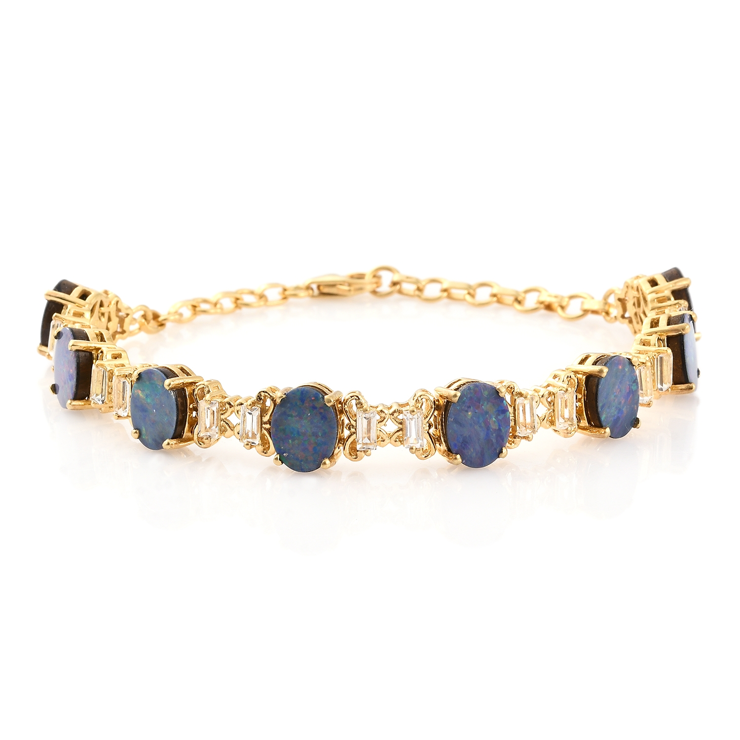 Opal White Topaz 14K Yellow Gold Plated Sterling Silver Bracelet 8.00 In by Shop LC