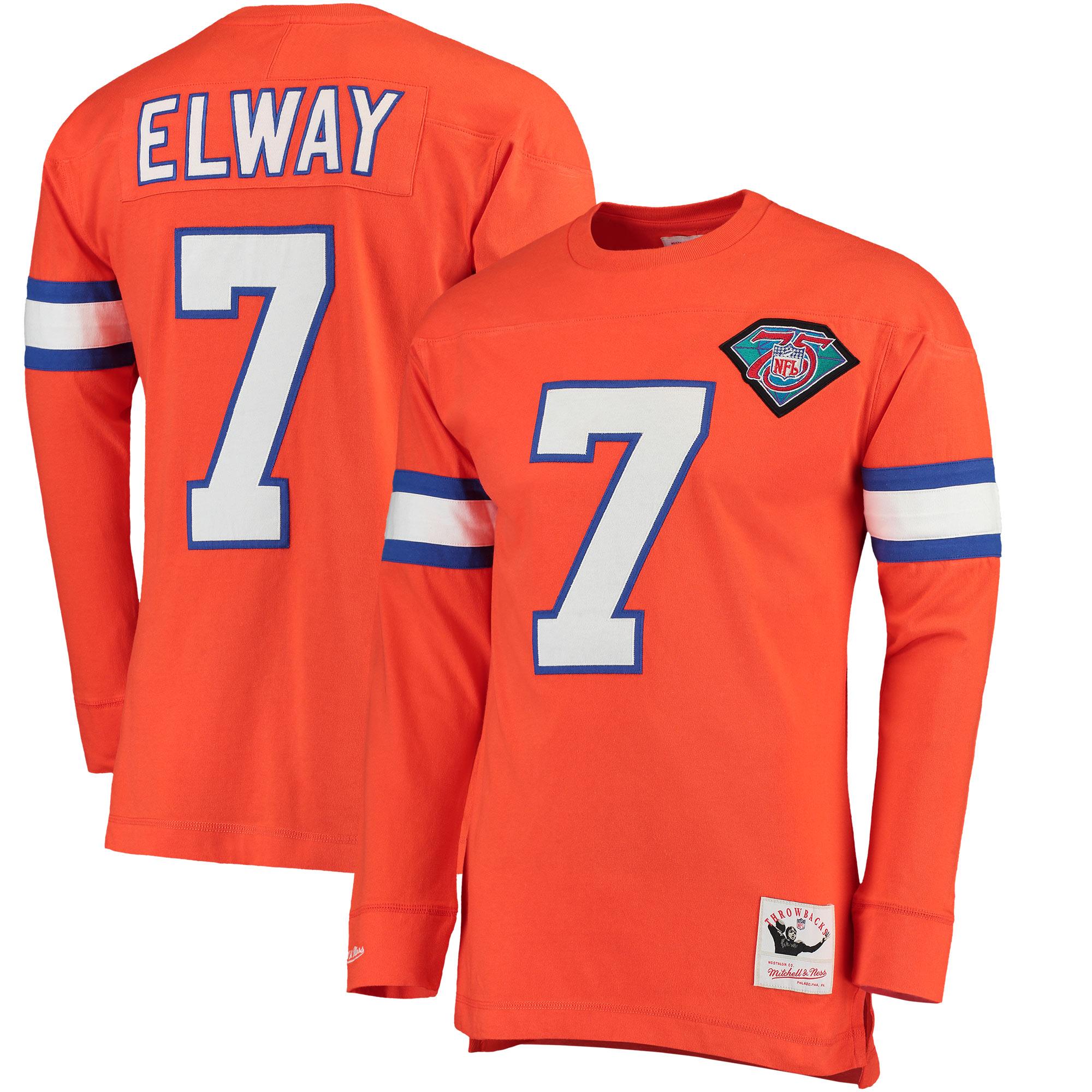 John Elway Denver Broncos Mitchell & Ness Throwback Name & Number Long Sleeve T-Shirt - Orange