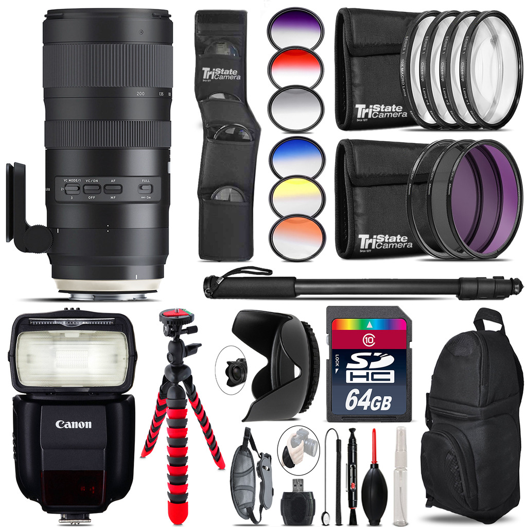 Tamron 70-200mm G2 for Canon + Speedlite 430EX III-RT 64GB Accessory Kit by Tamron