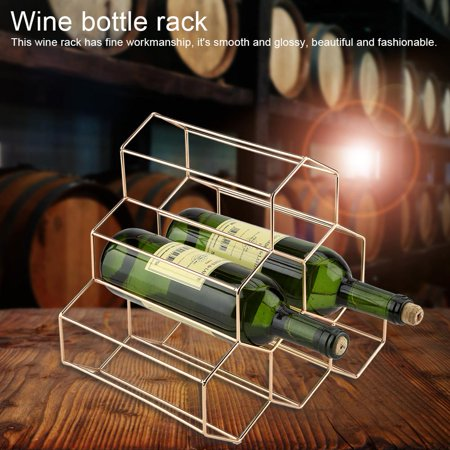 HERCHR Wine Holder, Modern Geometric Shape Wine Rack Holder Metal Home Bar Compact Wine Bottles Display Shelf, Metal Wine Rack, Triangle wrought iron French golden wine rack, Wine Rack, Wine Shelf ()