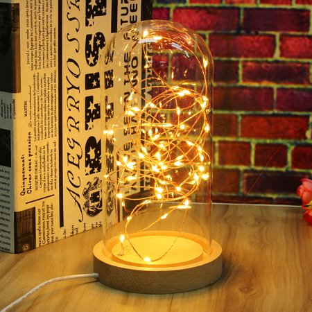 bottle jar led fairy string night light desk table wire lamp wire lamp with  wood base home party decal gift - walmart com