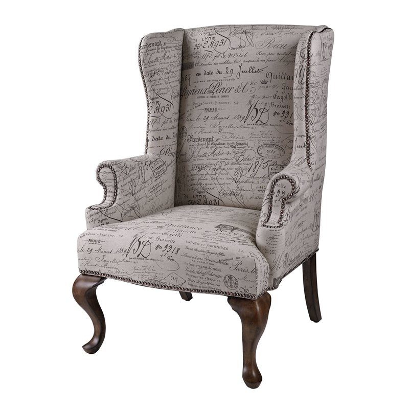 Sterling Marianne Wing Chair in Brown and Tan and Black