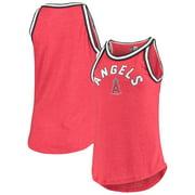 Los Angeles Angels New Era Women's Tri-Blend Raw Edge Jersey Tank Top - Heathered Red