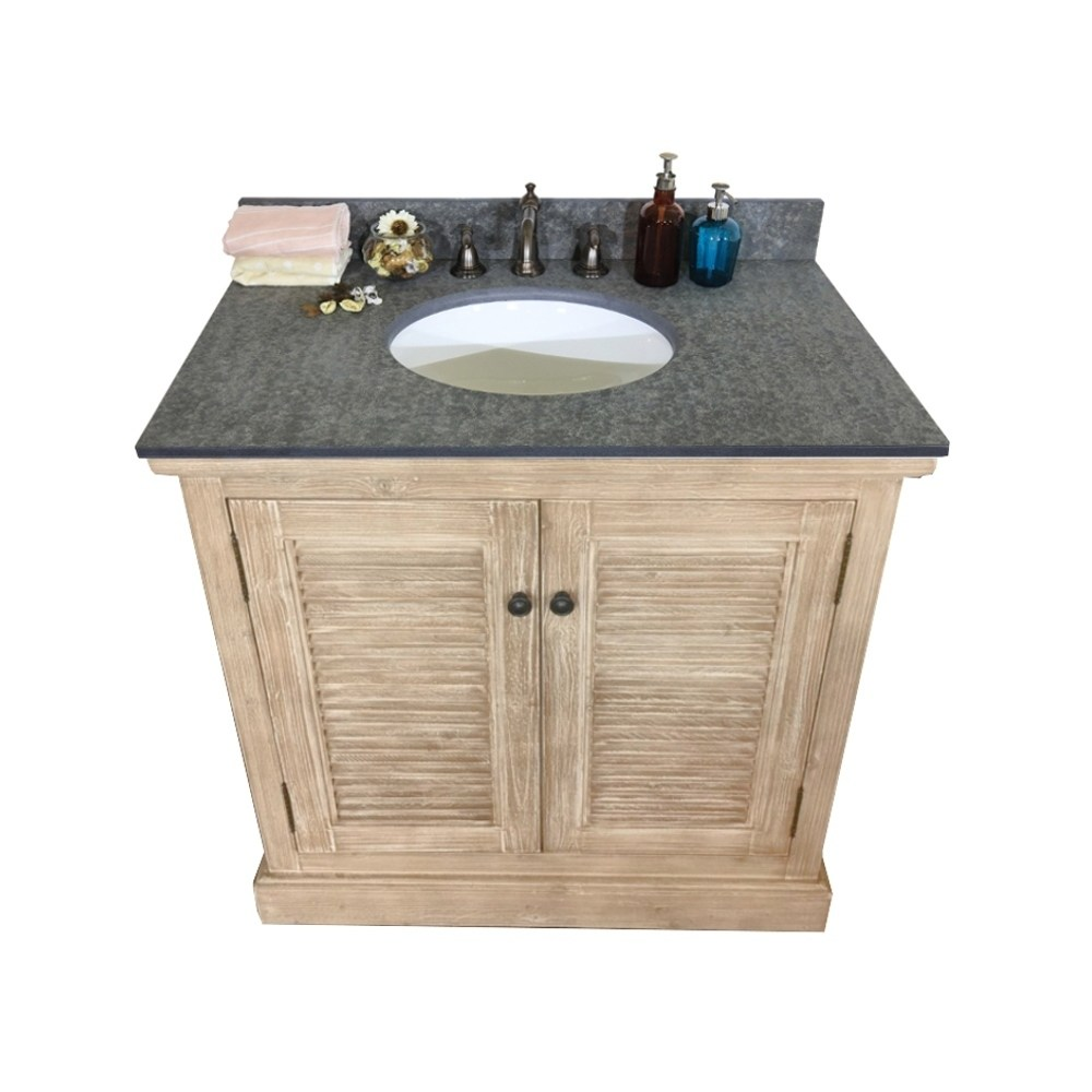 Infurniture Rustic Style Dark Limestone 36-inch Single-sink Bathroom Vanity