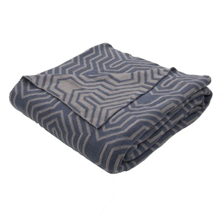 fossil gray and dark teal blue geometric patterned throw blanket 50 x 60. Black Bedroom Furniture Sets. Home Design Ideas