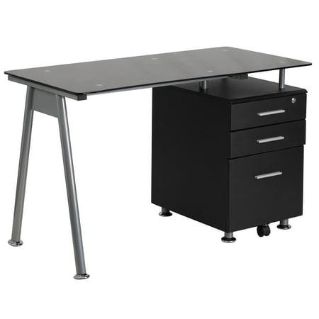 Flash Furniture Black Gl Computer Desk With 3 Drawer Pedestal