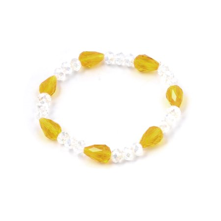 Unique Bargains Woman Clear Round Yellow Teardrop Style Beads Stretch Bangle Cuff Bracelet