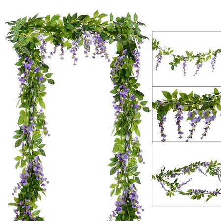 4Pcs 6.6Ft/Piece Artificial Flowers Silk Wisteria Garland Artificial Wisteria Vine Rattan Silk Hanging Flower for Home Garden Outdoor Ceremony Wedding Arch Floral Decor(Light Purple 10 -