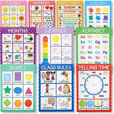 Juvale 10-Count Preschool Classroom Educational Learning Poster Charts, 10 Designs, 17.5 x 24 Inches (Count Chart)