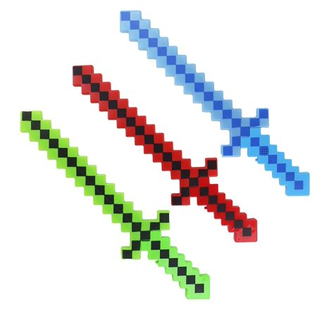 8 Bit 6 Pack Lumistick Light-up Diamond Pixel Sword - (Colors May Vary) 6 Pixelated Sword, Pixel Theme Toys, Electronic Sword, Light up Toys, Fun LED Pixel Toy Sword for Kids, Children 24 Inch - Kids Light Toys