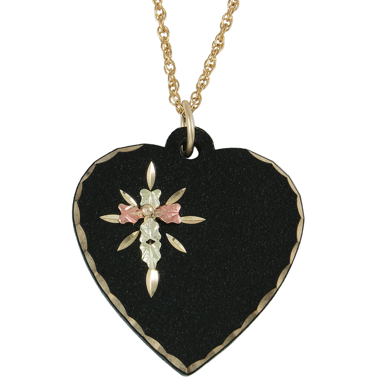 Black Hills Gold Black Powder-Coated Gold-Tone 10kt and 12kt Gold Accented Cross on Heart Pendant, 18""