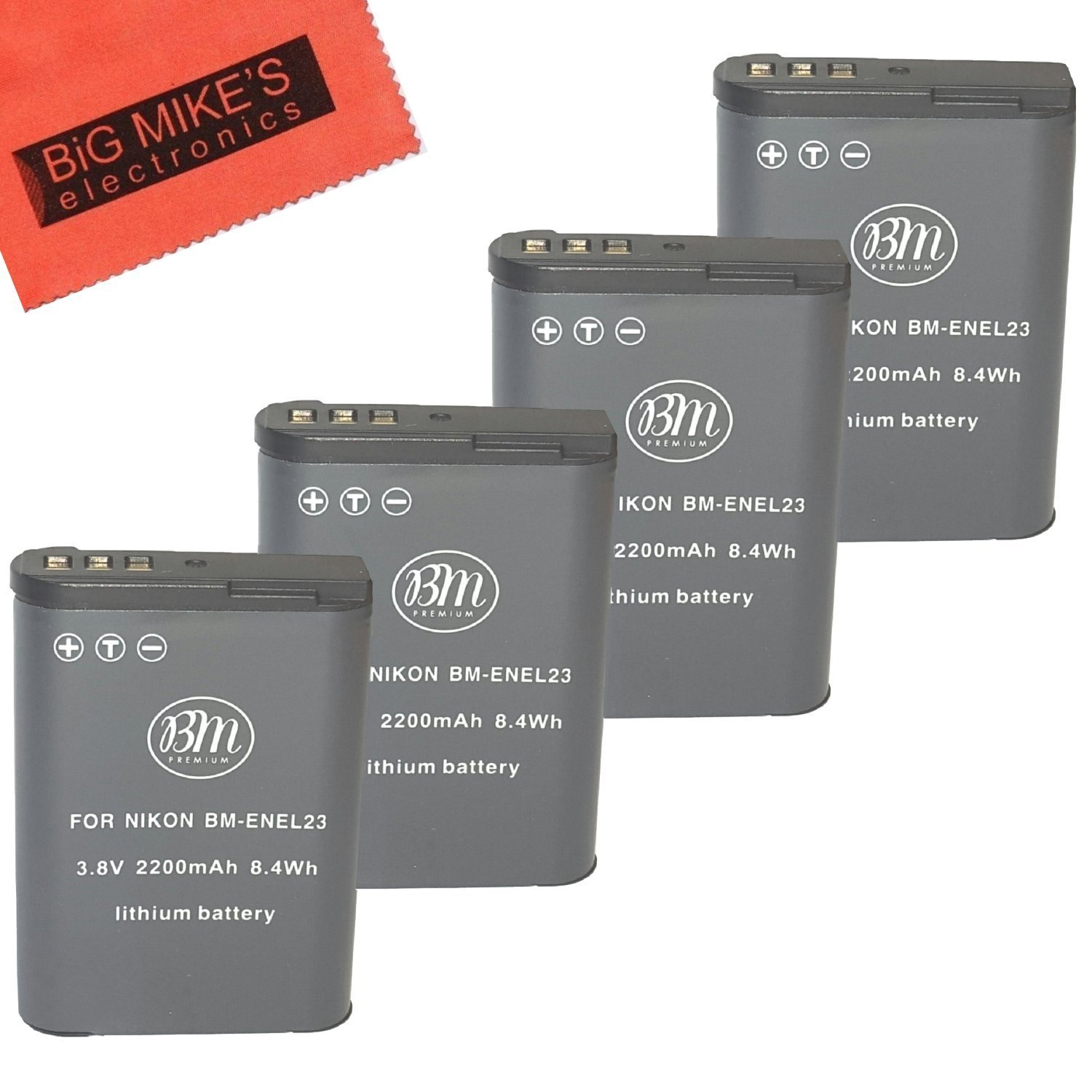 BM Premium 4-Pack of EN-EL23 Batteries for Nikon Coolpix B700, P900, P600, P610, S810c Digital Camera