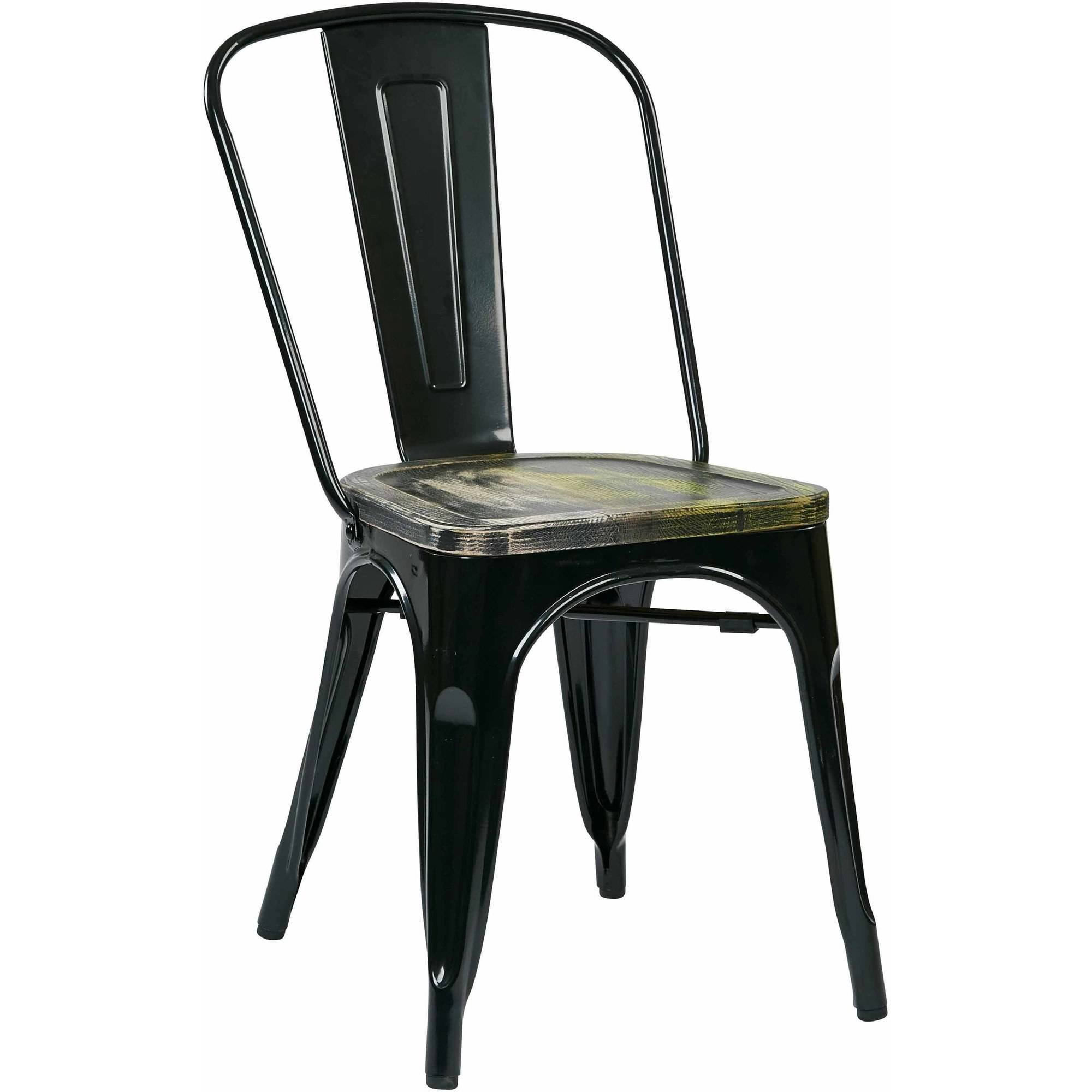 Bristow Metal Chair with Vintage Wood Seat, 4 Pack