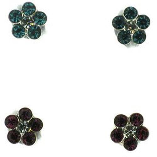 Disney Crystal Sterling Silver Stud Earrings, 2 Pairs