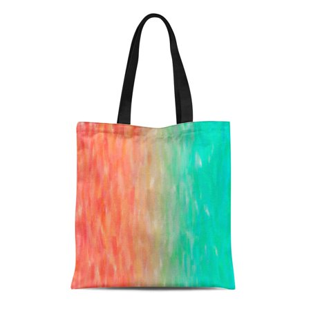 ASHLEIGH Canvas Tote Bag Blue Peach Coral Turquoise Watercolor Teal Orange Aqua Oil Reusable Handbag Shoulder Grocery Shopping Bags - Coral Tote Bag