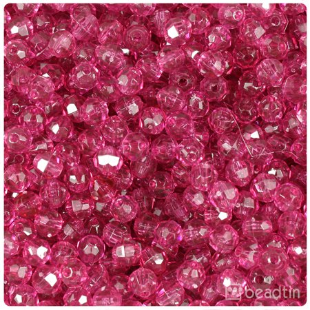 BeadTin Fuchsia Transparent 6mm Faceted Round Craft Beads (750pcs)