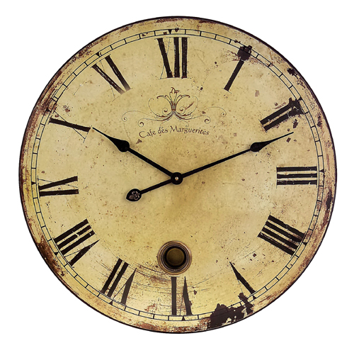 "23"" Trendy French Café Weathered Cream-Colored Large Wall Clock"