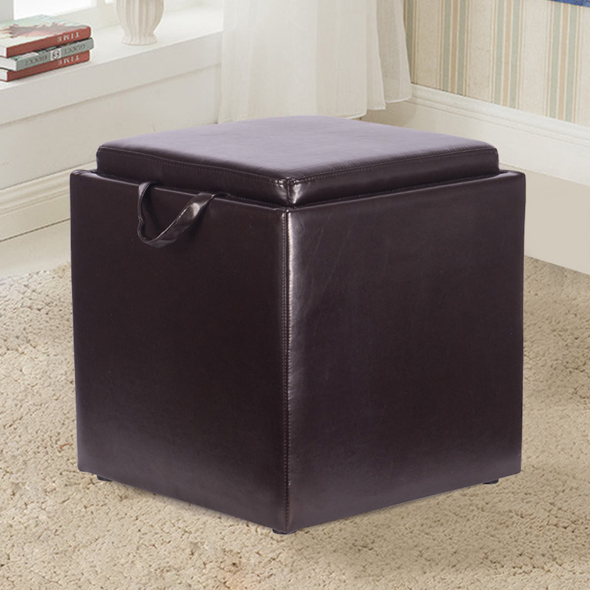Gymax Brown PU Leather Wood Seat Box Serving Tray Square Storage Ottoman Footstool by Gymax