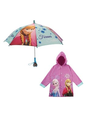 Kids Umbrella and Slicker Set,Elsa and Anna Rainwear Set for Little Girls Ages 6-7