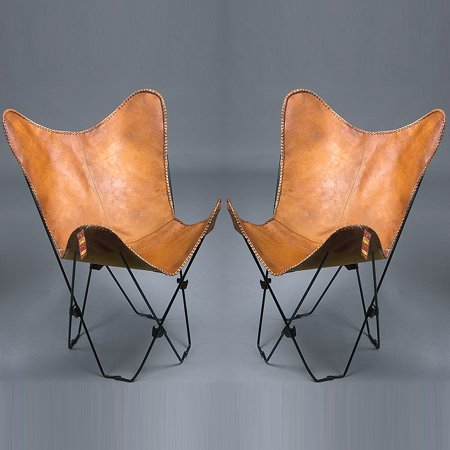 Pair Of Genuine Leather Butterfly Chair Folding Lounge
