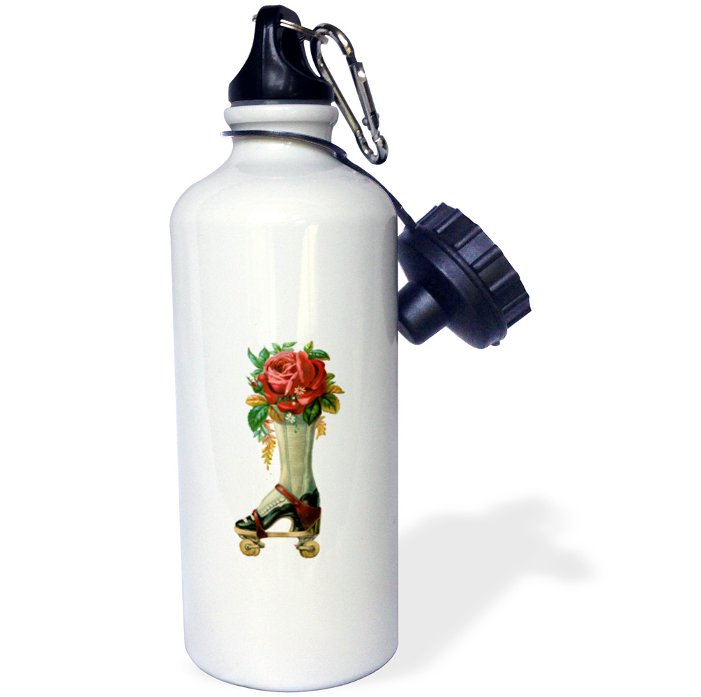 3dRose Vintage Victorian Steampunk Roller Skate Boot with Red Rose Bouquet, Sports Water Bottle, 21oz by Supplier Generic