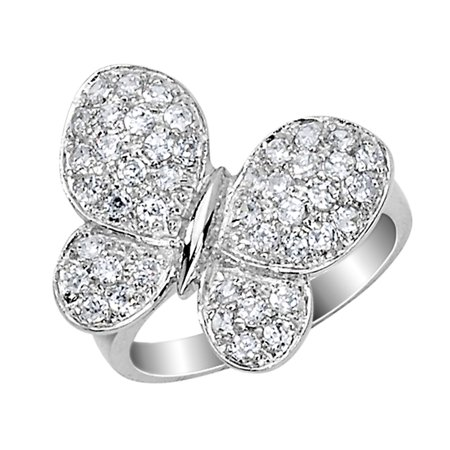 Cheryl M. Synthetic Cubic Zirconia (CZ) (CZ) Butterfly Ring in Sterling Silver - image 1 de 1