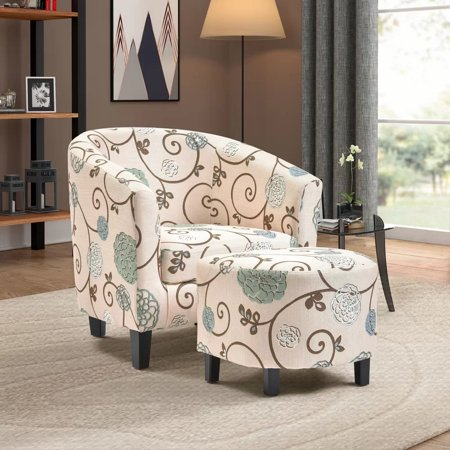 Harper Amp Bright Designs Barrel Accent Chair With Ottoman