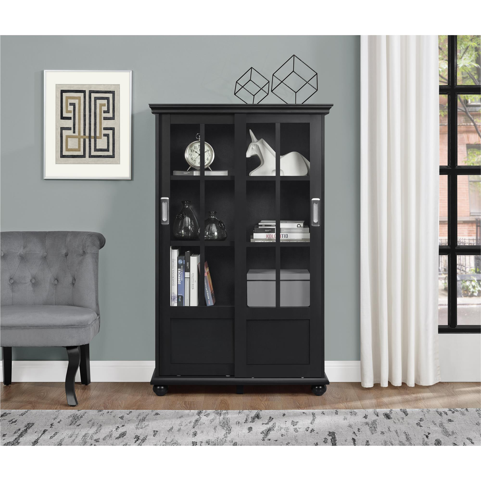 bookcase sliding style pin bookcases ultra door solid clean mahogany glass federal double century