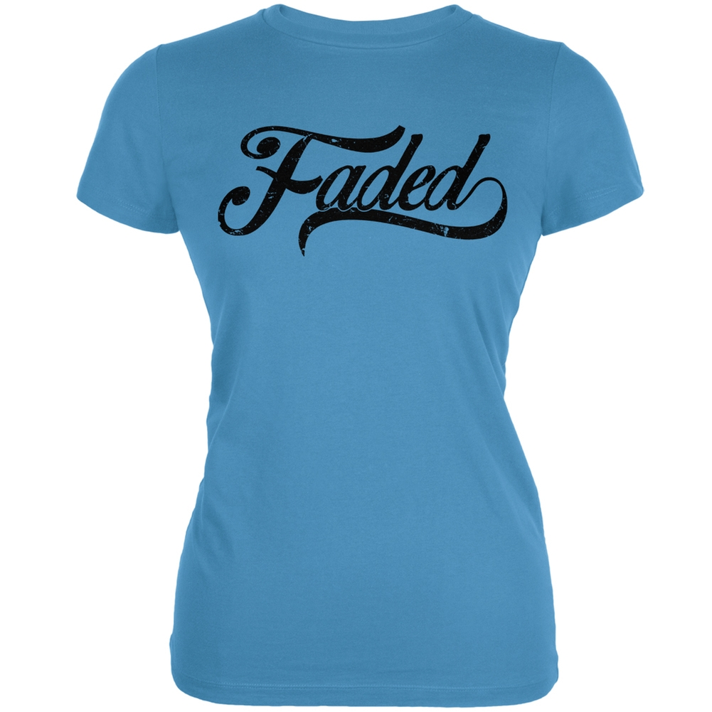 Faded Aqua Juniors Soft T-Shirt