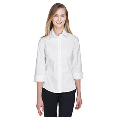 Three-Quarter Sleeve Stretch Poplin Blouse Devon Aire Stretch Shirt
