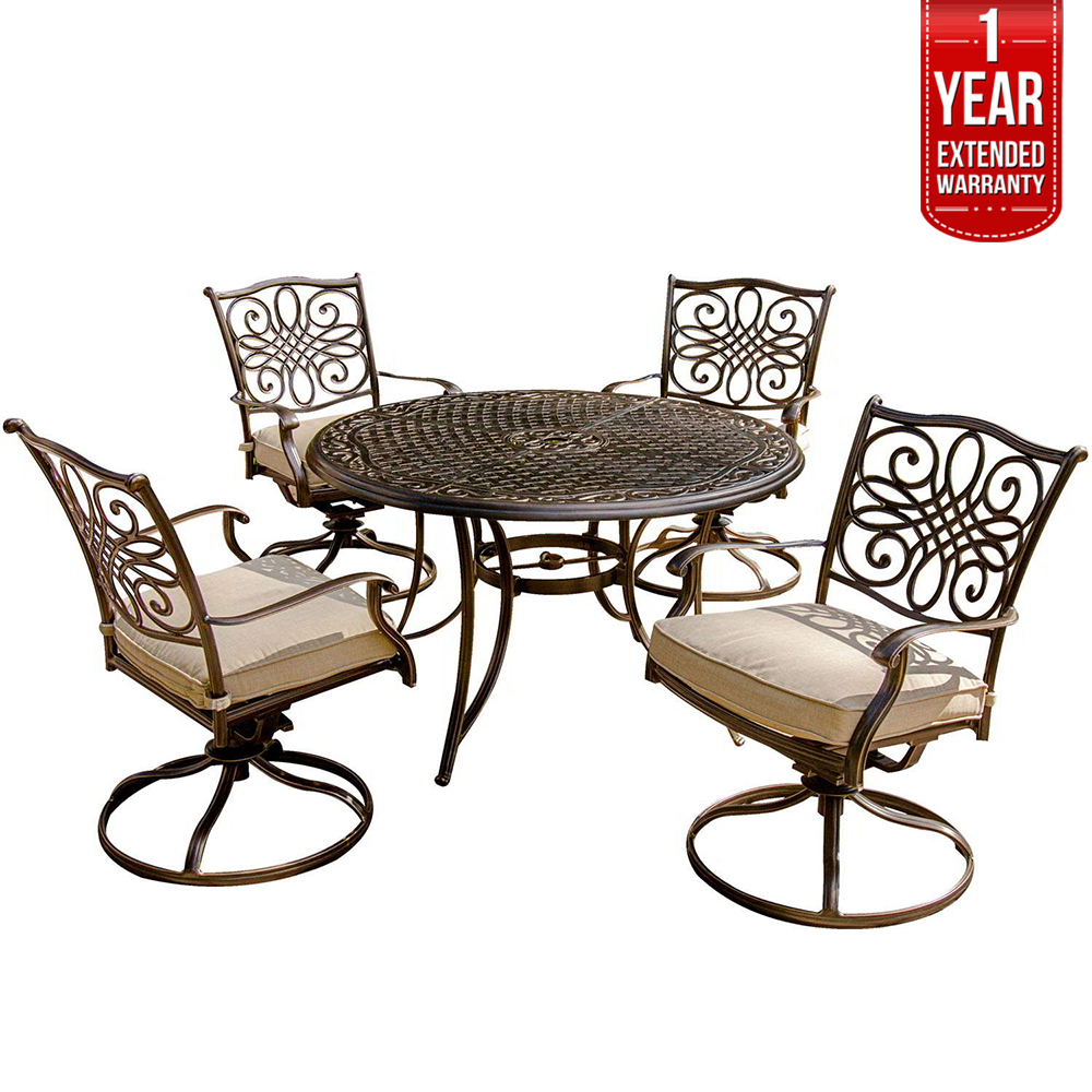 Hanover Traditions 5 Piece Swivel Rocker Outdoor Dining Set (TRADITIONS5PCSW) with 1 Year Extended Warranty