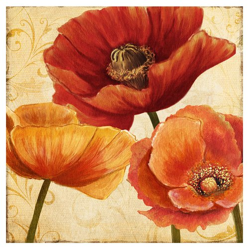 PTM Blooming Reds Giclee Print of Painting on Canvas