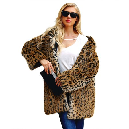 Women's Faux Fur Leopard Coat Warm Winter Jacket Outerwear Long Sleeves Sexy Overcoat