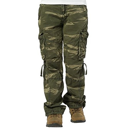 Women's Casual Cargo Pants Military Army Styles Cotton Trousers CamoGreen - Military Style Cropped