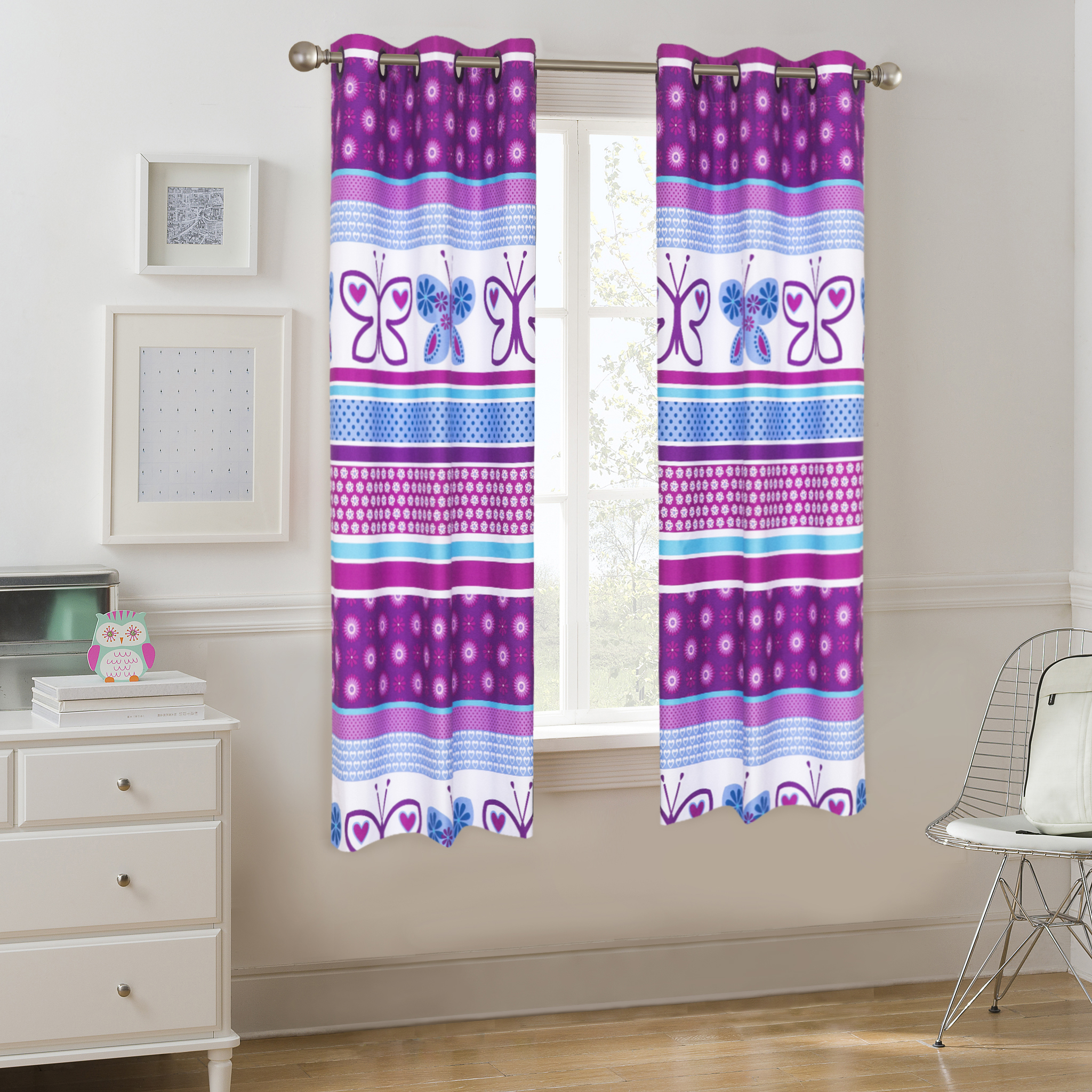 Mainstays Kids Grommet Room Darkening Purple Butterfly Single Window Panel