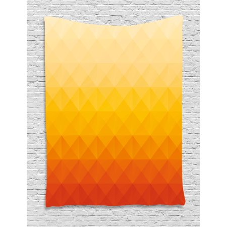 Abstract Tapestry, Digital Triangle Geometric Mosaic Gradient Shades of Orange Poly Art, Wall Hanging for Bedroom Living Room Dorm Decor, 40W X 60L Inches, Red Vermilion Marigold, by Ambesonne