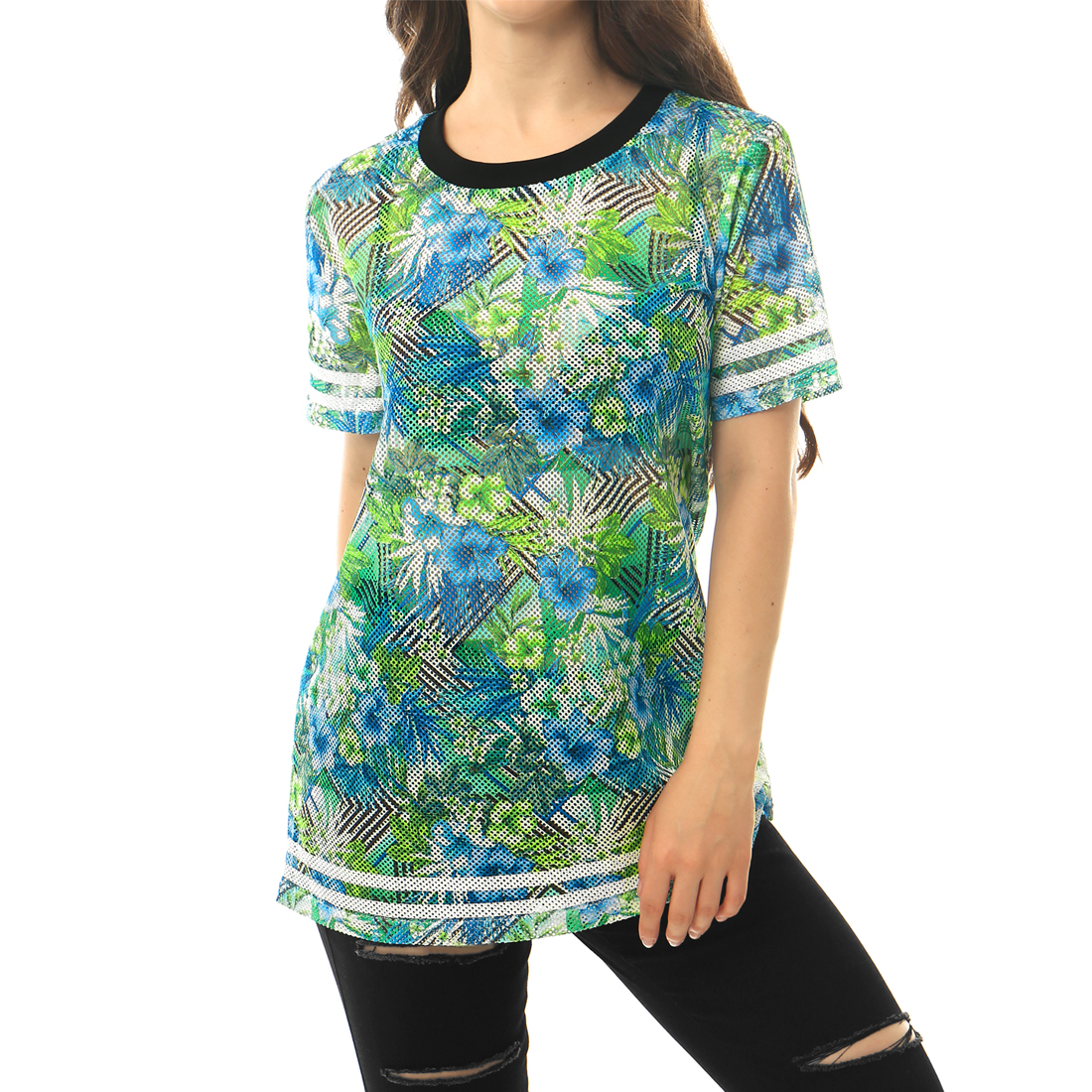 Allegra K Women's Short Sleeves Stripes Trim Floral Mesh Top Blue Green (Size S / 4)
