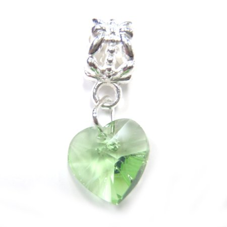 3 Beads - Green Crystal Heart Dangle Glass Silver European Bead Charm E1210