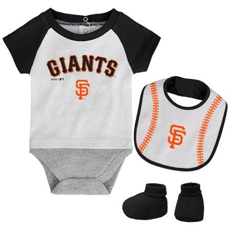 San Francisco Giants Infant Baseball Kid Bodysuit, Bib & Booties Set - White/Black - Bootie San Francisco Halloween