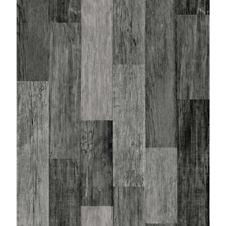 RoomMates Weathered Wood Plank Black Peel and Stick ...