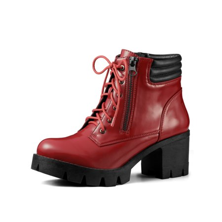 Women's Chunky Heel Lace Up Zipper Combat Boots Red (Size