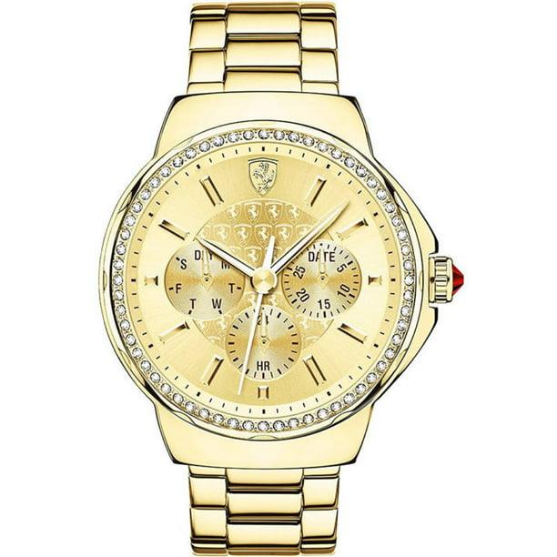 Ferrari Women S Scuderia Gold Tone Crystallized Watch 820016 Walmart Com Walmart Com